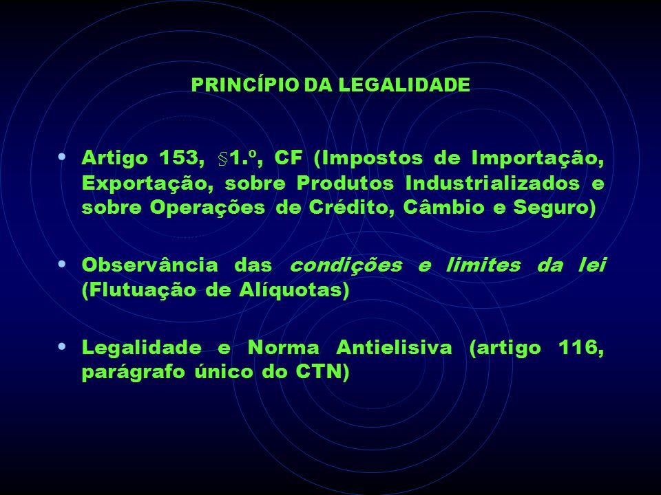 PRINCÍPIO DA LEGALIDADE Artigo 153, §1.º, CF (Impostos de Importação, Exportação, sobre Produtos Industrializados e sobre Operações de Crédito, Câmbio