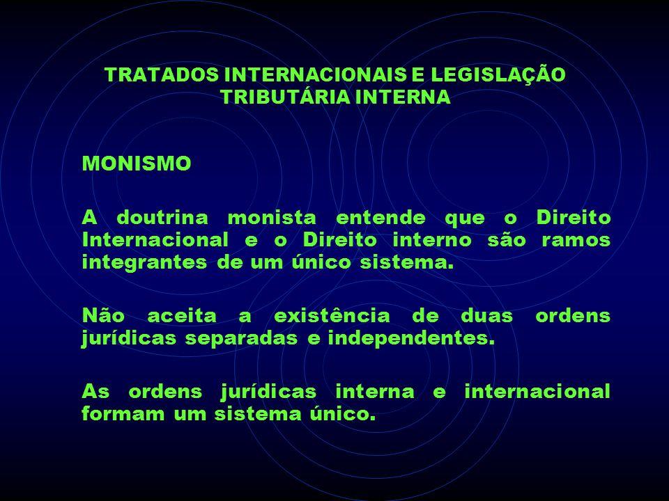 TRATADOS INTERNACIONAIS E LEGISLAÇÃO TRIBUTÁRIA INTERNA MONISMO A doutrina monista entende que o Direito Internacional e o Direito interno são ramos i