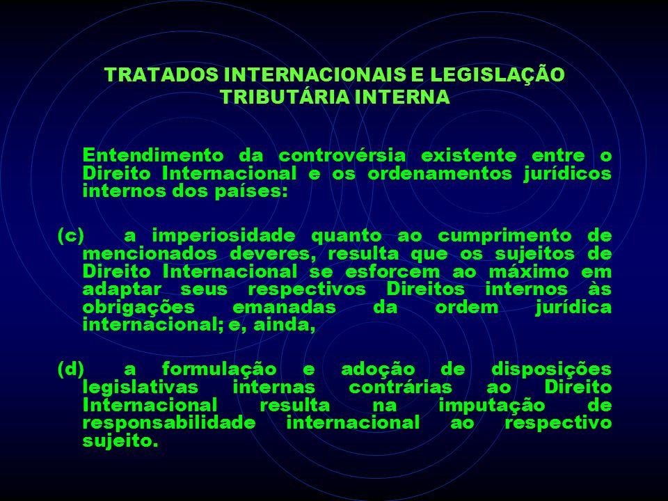 TRATADOS INTERNACIONAIS E LEGISLAÇÃO TRIBUTÁRIA INTERNA Entendimento da controvérsia existente entre o Direito Internacional e os ordenamentos jurídic