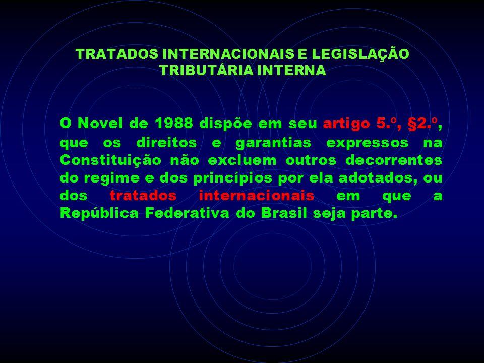 TRATADOS INTERNACIONAIS E LEGISLAÇÃO TRIBUTÁRIA INTERNA O Novel de 1988 dispõe em seu artigo 5.º, §2.º, que os direitos e garantias expressos na Const
