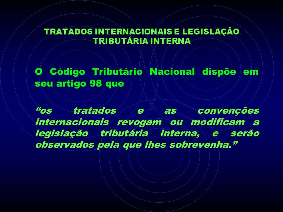 TRATADOS INTERNACIONAIS E LEGISLAÇÃO TRIBUTÁRIA INTERNA O Código Tributário Nacional dispõe em seu artigo 98 que os tratados e as convenções internaci