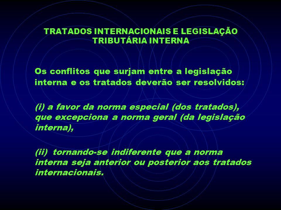 TRATADOS INTERNACIONAIS E LEGISLAÇÃO TRIBUTÁRIA INTERNA Os conflitos que surjam entre a legislação interna e os tratados deverão ser resolvidos: (i) a