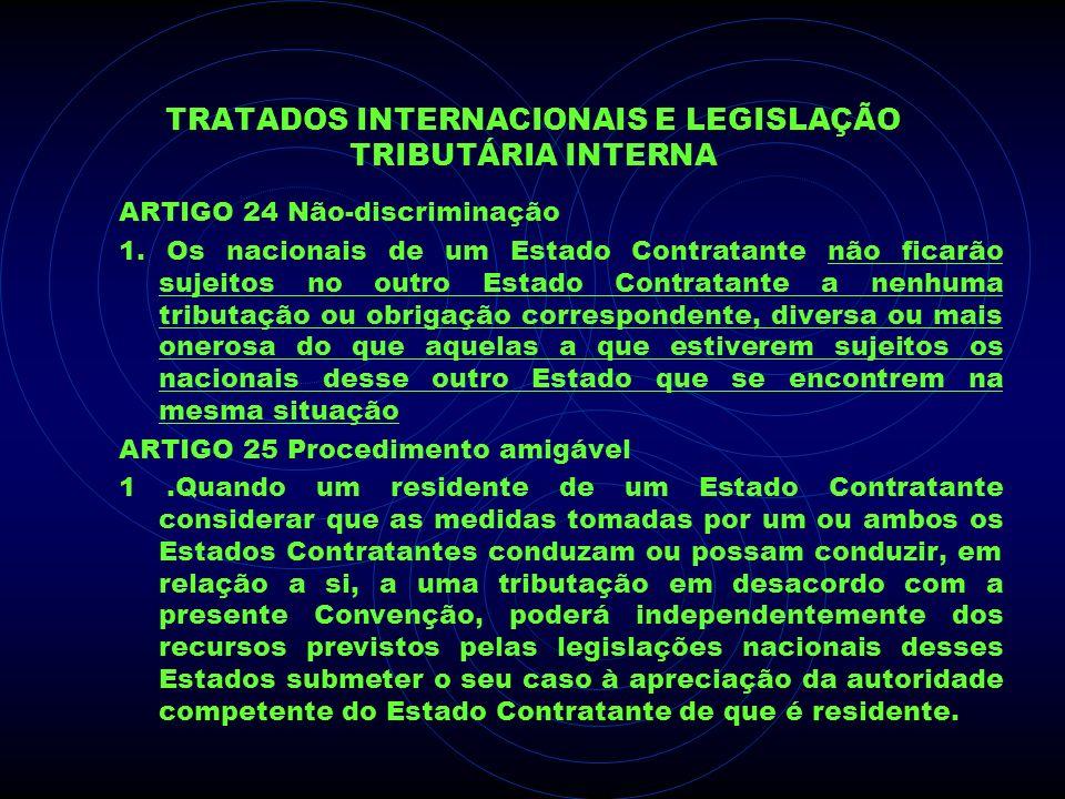 TRATADOS INTERNACIONAIS E LEGISLAÇÃO TRIBUTÁRIA INTERNA ARTIGO 24 Não-discriminação 1. Os nacionais de um Estado Contratante não ficarão sujeitos no o