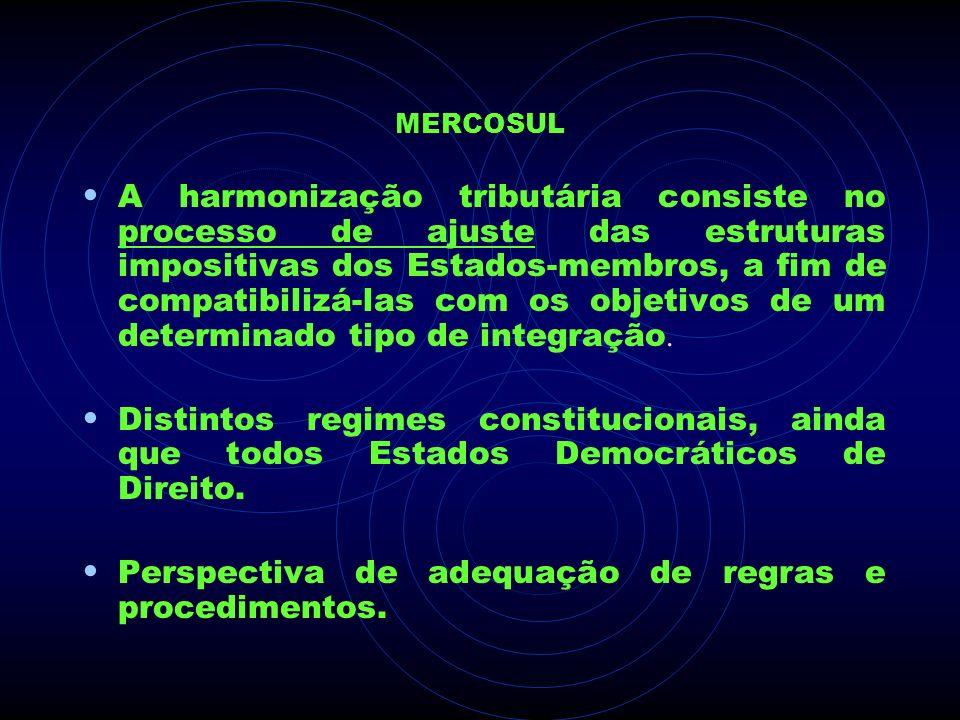 MERCOSUL A harmonização tributária consiste no processo de ajuste das estruturas impositivas dos Estados-membros, a fim de compatibilizá-las com os ob