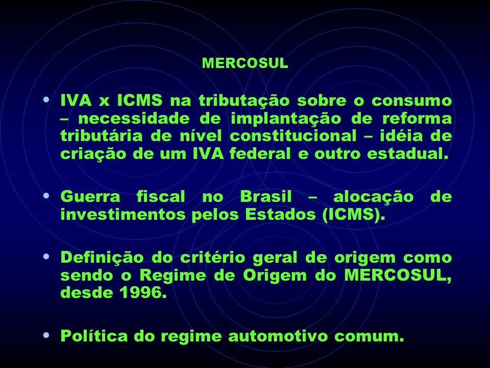 MERCOSUL IVA x ICMS na tributação sobre o consumo – necessidade de implantação de reforma tributária de nível constitucional – idéia de criação de um