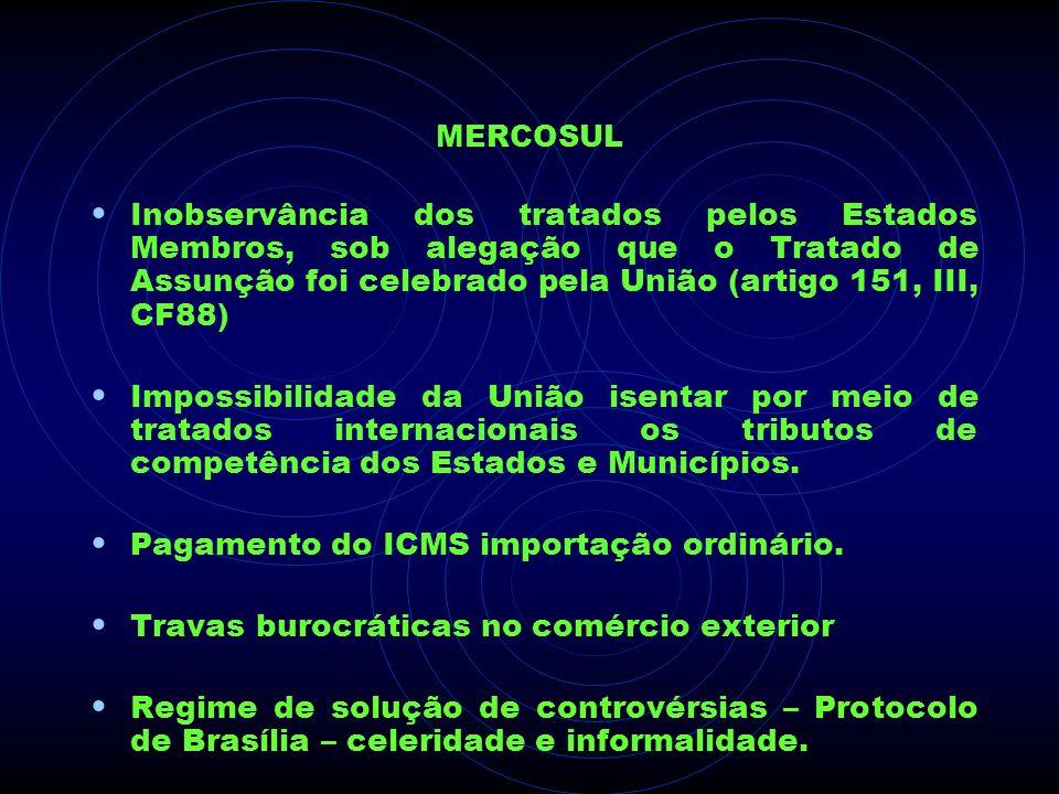 MERCOSUL Inobservância dos tratados pelos Estados Membros, sob alegação que o Tratado de Assunção foi celebrado pela União (artigo 151, III, CF88) Imp