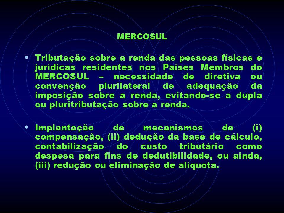 MERCOSUL Tributação sobre a renda das pessoas físicas e jurídicas residentes nos Países Membros do MERCOSUL – necessidade de diretiva ou convenção plu