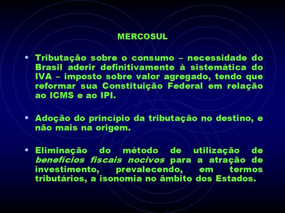 MERCOSUL Tributação sobre o consumo – necessidade do Brasil aderir definitivamente à sistemática do IVA – imposto sobre valor agregado, tendo que refo
