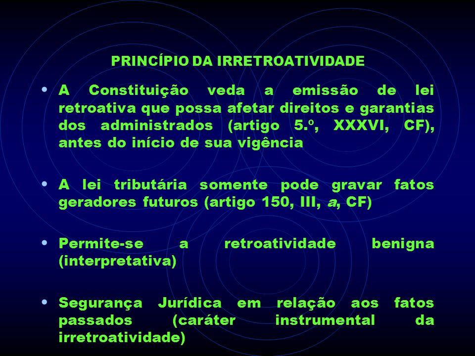 PRINCÍPIO DA IRRETROATIVIDADE A Constituição veda a emissão de lei retroativa que possa afetar direitos e garantias dos administrados (artigo 5.º, XXX