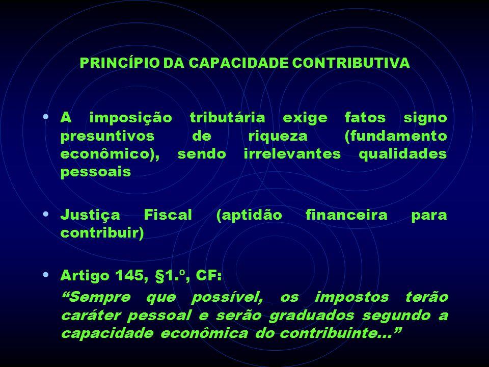 PRINCÍPIO DA CAPACIDADE CONTRIBUTIVA A imposição tributária exige fatos signo presuntivos de riqueza (fundamento econômico), sendo irrelevantes qualid