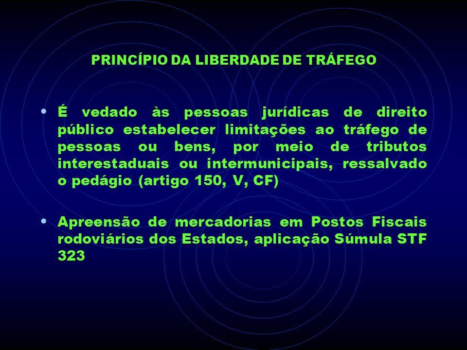 PRINCÍPIO DA LIBERDADE DE TRÁFEGO É vedado às pessoas jurídicas de direito público estabelecer limitações ao tráfego de pessoas ou bens, por meio de t
