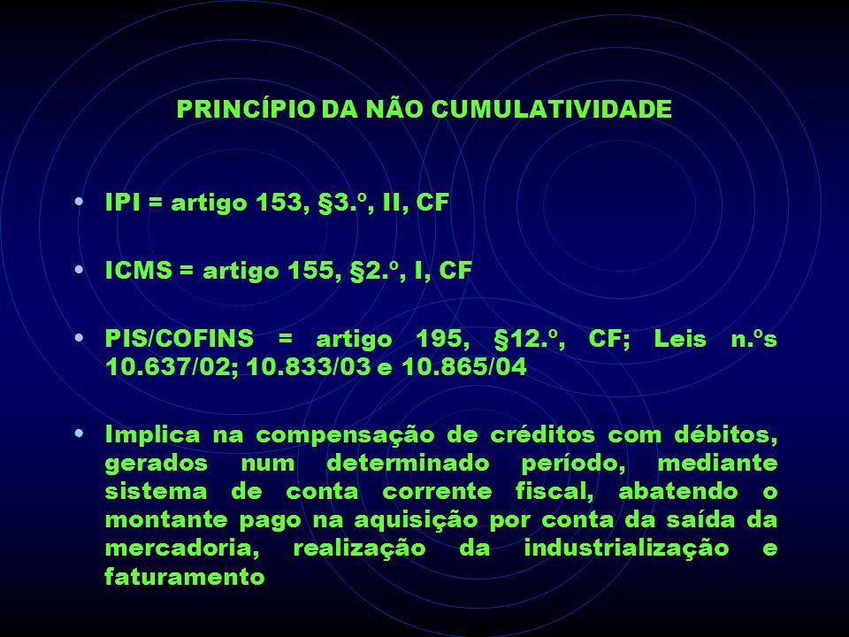 PRINCÍPIO DA NÃO CUMULATIVIDADE IPI = artigo 153, §3.º, II, CF ICMS = artigo 155, §2.º, I, CF PIS/COFINS = artigo 195, §12.º, CF; Leis n.ºs 10.637/02;