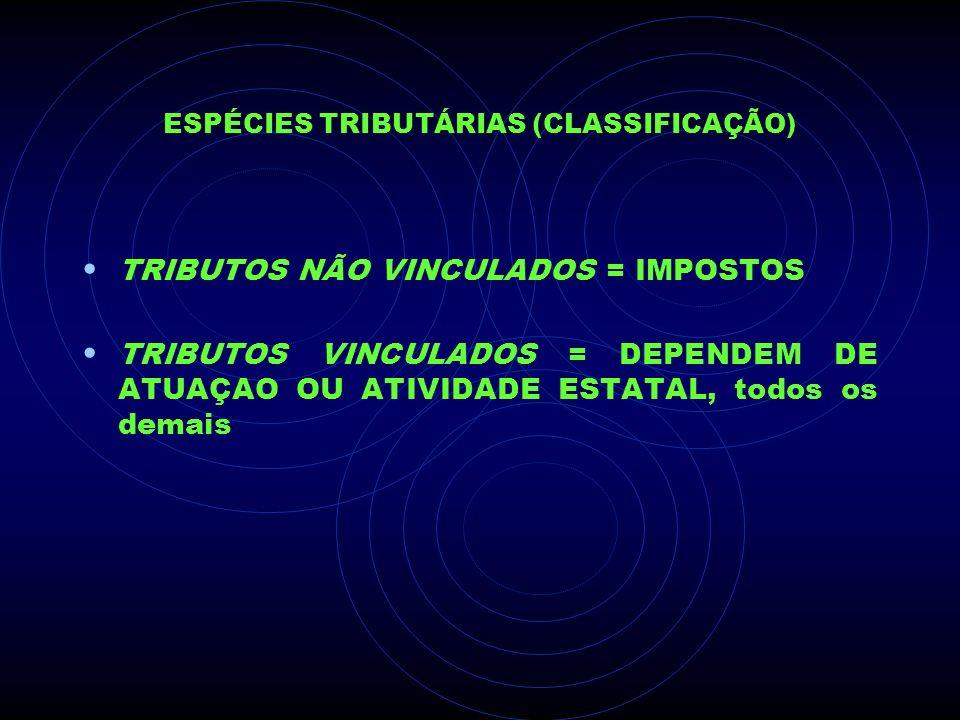 ESPÉCIES TRIBUTÁRIAS (CLASSIFICAÇÃO) TRIBUTOS NÃO VINCULADOS = IMPOSTOS TRIBUTOS VINCULADOS = DEPENDEM DE ATUAÇAO OU ATIVIDADE ESTATAL, todos os demai