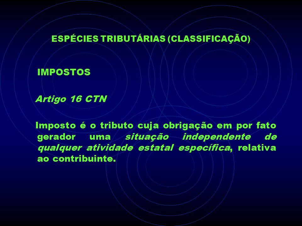 ESPÉCIES TRIBUTÁRIAS (CLASSIFICAÇÃO) IMPOSTOS Artigo 16 CTN Imposto é o tributo cuja obrigação em por fato gerador uma situação independente de qualqu