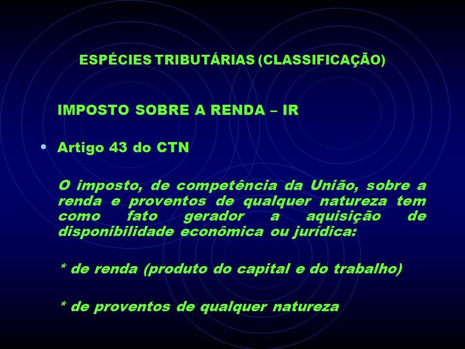 ESPÉCIES TRIBUTÁRIAS (CLASSIFICAÇÃO) IMPOSTO SOBRE A RENDA – IR Artigo 43 do CTN O imposto, de competência da União, sobre a renda e proventos de qual