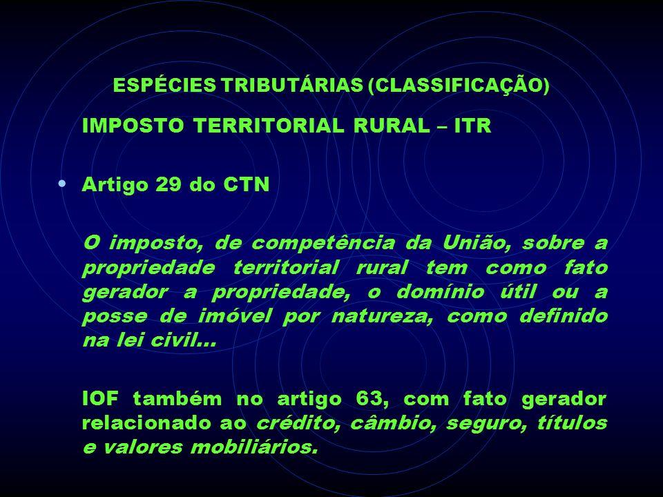 ESPÉCIES TRIBUTÁRIAS (CLASSIFICAÇÃO) IMPOSTO TERRITORIAL RURAL – ITR Artigo 29 do CTN O imposto, de competência da União, sobre a propriedade territor