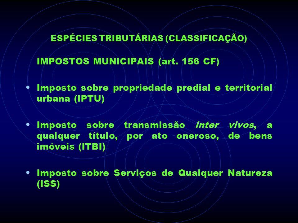 ESPÉCIES TRIBUTÁRIAS (CLASSIFICAÇÃO) IMPOSTOS MUNICIPAIS (art. 156 CF) Imposto sobre propriedade predial e territorial urbana (IPTU) Imposto sobre tra