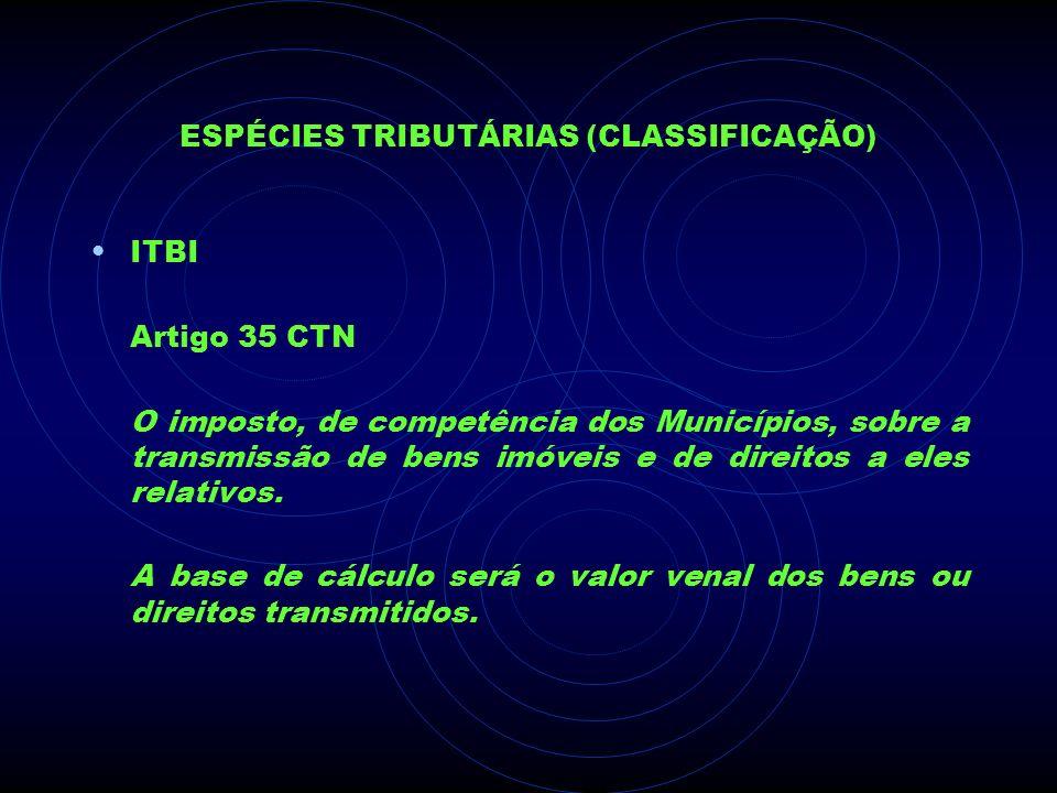 ESPÉCIES TRIBUTÁRIAS (CLASSIFICAÇÃO) ITBI Artigo 35 CTN O imposto, de competência dos Municípios, sobre a transmissão de bens imóveis e de direitos a