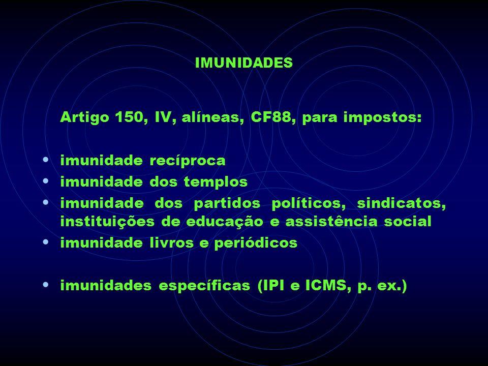 IMUNIDADES Artigo 150, IV, alíneas, CF88, para impostos: imunidade recíproca imunidade dos templos imunidade dos partidos políticos, sindicatos, insti
