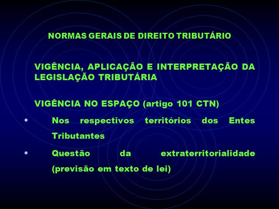 NORMAS GERAIS DE DIREITO TRIBUTÁRIO VIGÊNCIA, APLICAÇÃO E INTERPRETAÇÃO DA LEGISLAÇÃO TRIBUTÁRIA VIGÊNCIA NO ESPAÇO (artigo 101 CTN) Nos respectivos t