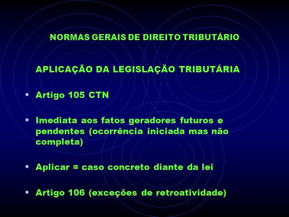 NORMAS GERAIS DE DIREITO TRIBUTÁRIO APLICAÇÃO DA LEGISLAÇÃO TRIBUTÁRIA Artigo 105 CTN Imediata aos fatos geradores futuros e pendentes (ocorrência ini