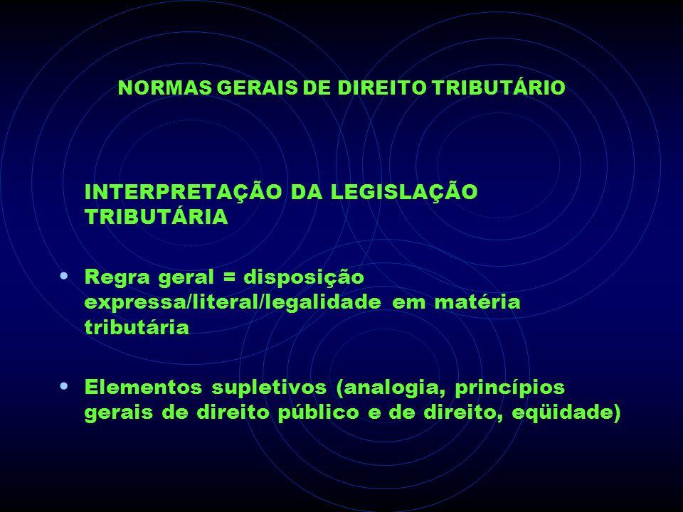 NORMAS GERAIS DE DIREITO TRIBUTÁRIO INTERPRETAÇÃO DA LEGISLAÇÃO TRIBUTÁRIA Regra geral = disposição expressa/literal/legalidade em matéria tributária