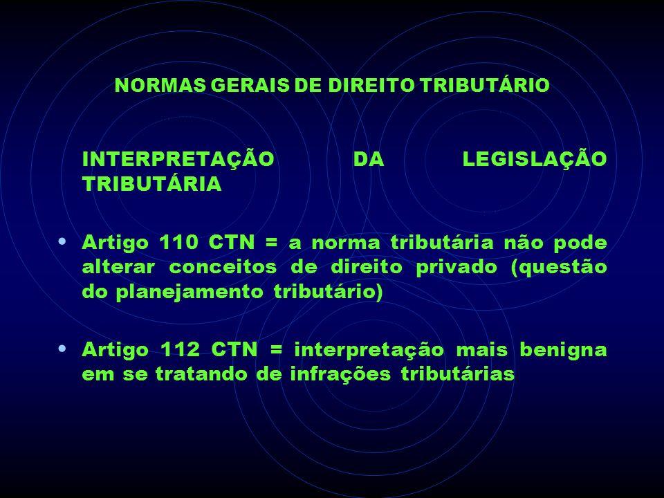 NORMAS GERAIS DE DIREITO TRIBUTÁRIO INTERPRETAÇÃO DA LEGISLAÇÃO TRIBUTÁRIA Artigo 110 CTN = a norma tributária não pode alterar conceitos de direito p
