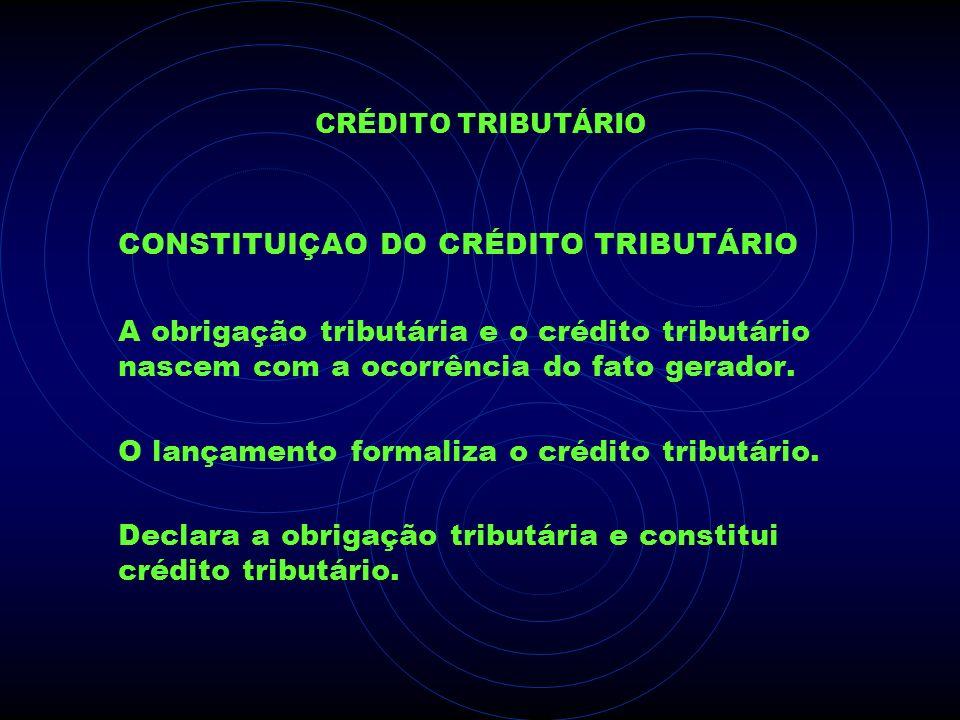 CRÉDITO TRIBUTÁRIO CONSTITUIÇAO DO CRÉDITO TRIBUTÁRIO A obrigação tributária e o crédito tributário nascem com a ocorrência do fato gerador. O lançame