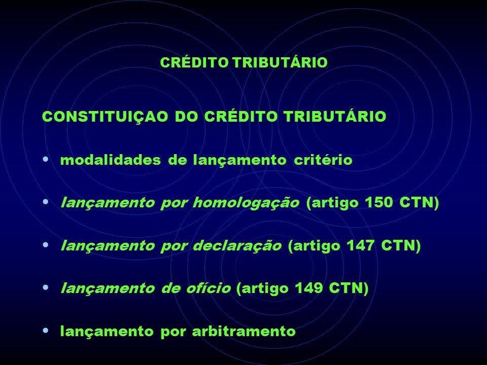 CRÉDITO TRIBUTÁRIO CONSTITUIÇAO DO CRÉDITO TRIBUTÁRIO modalidades de lançamento critério lançamento por homologação (artigo 150 CTN) lançamento por de