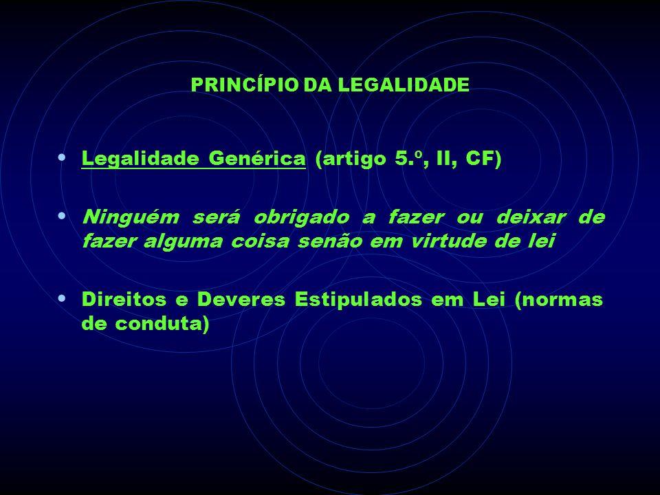 PRINCÍPIO DA LEGALIDADE Legalidade Genérica (artigo 5.º, II, CF) Ninguém será obrigado a fazer ou deixar de fazer alguma coisa senão em virtude de lei