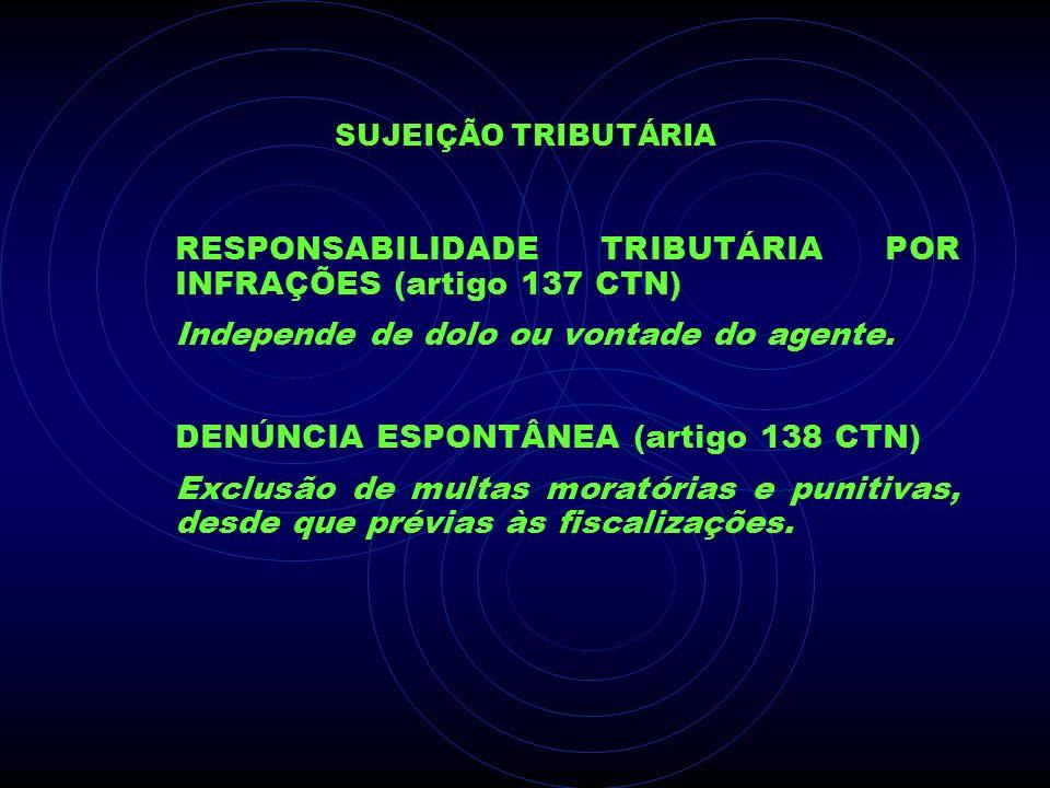 SUJEIÇÃO TRIBUTÁRIA RESPONSABILIDADE TRIBUTÁRIA POR INFRAÇÕES (artigo 137 CTN) Independe de dolo ou vontade do agente. DENÚNCIA ESPONTÂNEA (artigo 138