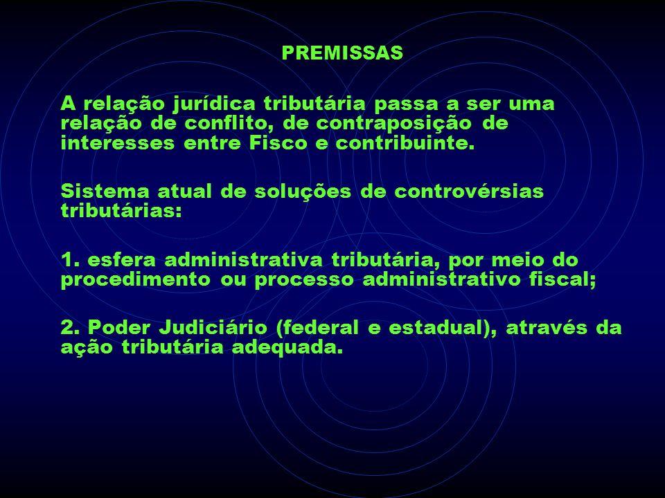 PREMISSAS A relação jurídica tributária passa a ser uma relação de conflito, de contraposição de interesses entre Fisco e contribuinte. Sistema atual