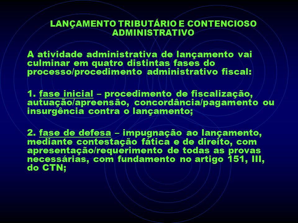 LANÇAMENTO TRIBUTÁRIO E CONTENCIOSO ADMINISTRATIVO A atividade administrativa de lançamento vai culminar em quatro distintas fases do processo/procedi
