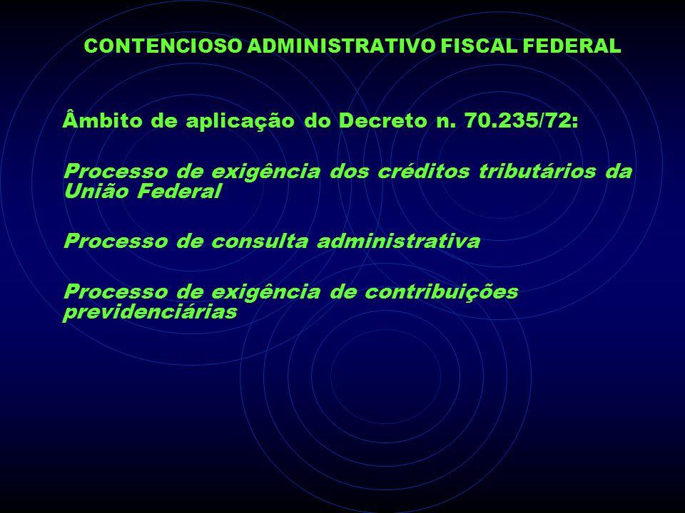 CONTENCIOSO ADMINISTRATIVO FISCAL FEDERAL Âmbito de aplicação do Decreto n. 70.235/72: Processo de exigência dos créditos tributários da União Federal