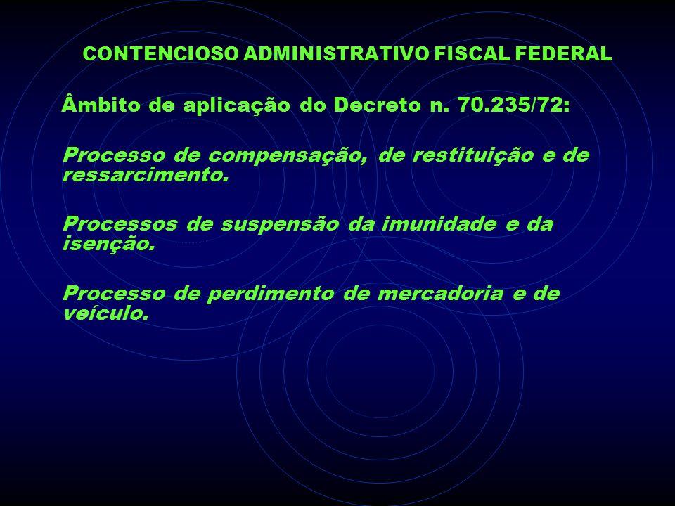 CONTENCIOSO ADMINISTRATIVO FISCAL FEDERAL Âmbito de aplicação do Decreto n. 70.235/72: Processo de compensação, de restituição e de ressarcimento. Pro