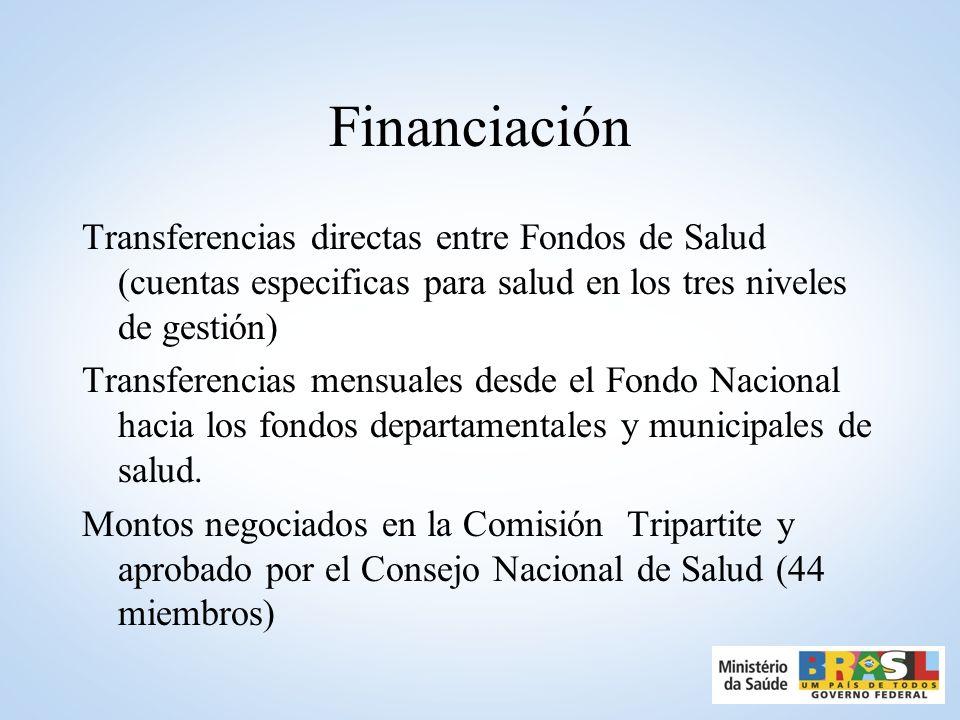 Financiación Transferencias directas entre Fondos de Salud (cuentas especificas para salud en los tres niveles de gestión) Transferencias mensuales desde el Fondo Nacional hacia los fondos departamentales y municipales de salud.