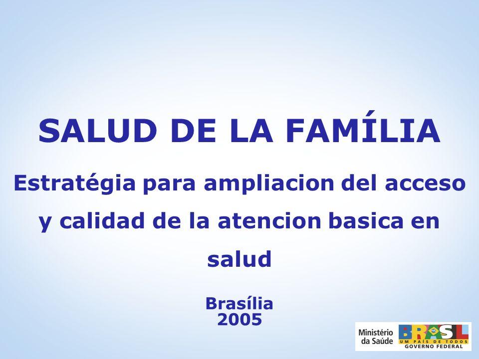 SALUD DE LA FAMÍLIA Estratégia para ampliacion del acceso y calidad de la atencion basica en salud Brasília 2005