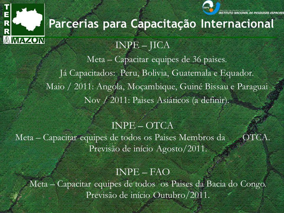 Parcerias para Capacitação Internacional INPE – JICA Meta – Capacitar equipes de 36 paises. Já Capacitados: Peru, Bolivia, Guatemala e Equador. Maio /