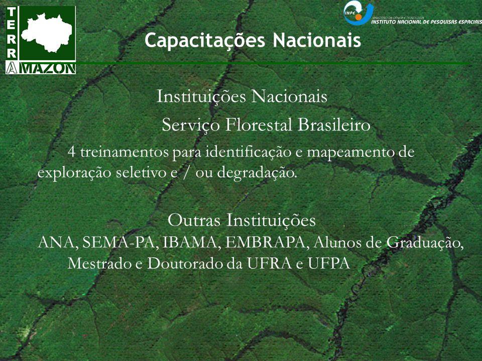 Capacitações Nacionais Instituições Nacionais Serviço Florestal Brasileiro 4 treinamentos para identificação e mapeamento de exploração seletivo e / o