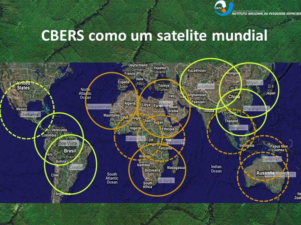 CBERS como um satelite mundial Cuiabá Boa Vista Chetumal Maspalomas Aswan Jo´burg Nairobi(?) Gabon(?) Urumchi Miyun Ghuangzhou Darwin(?) Alice Springs
