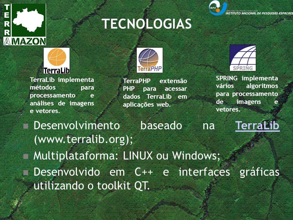 TECNOLOGIAS TerraLib implementa métodos para processamento e análises de imagens e vetores. TerraPHP extensão PHP para acessar dados TerraLib em aplic