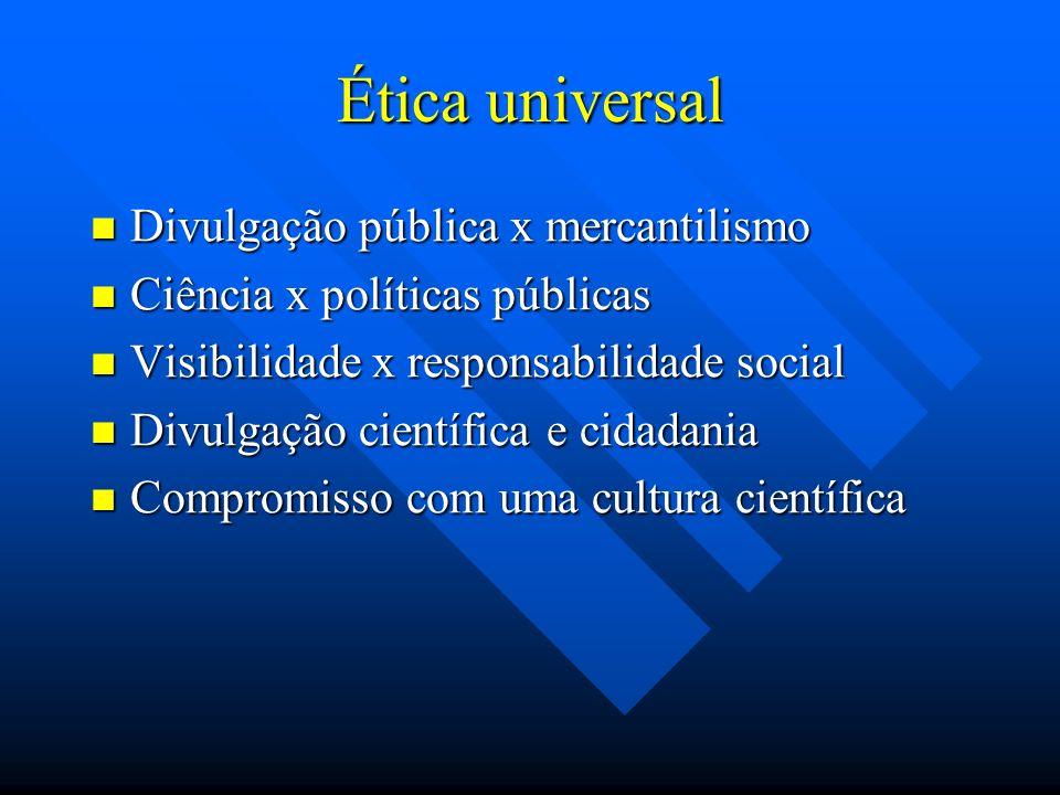 Ética universal Divulgação pública x mercantilismo Divulgação pública x mercantilismo Ciência x políticas públicas Ciência x políticas públicas Visibi