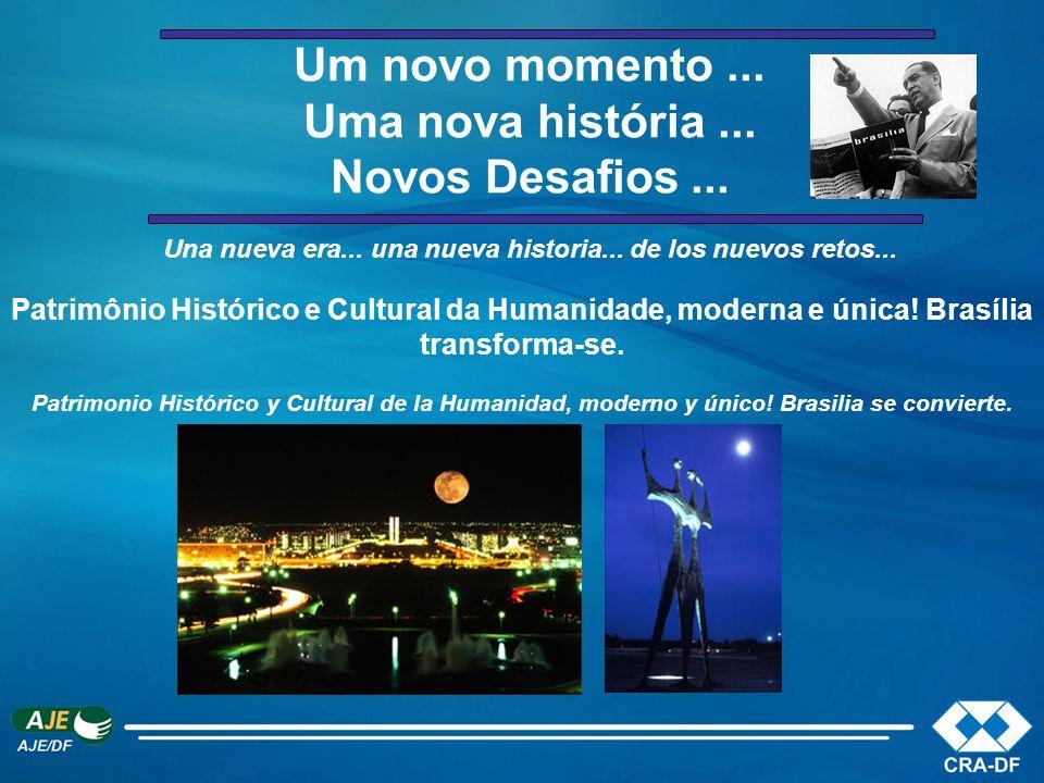 Um novo momento... Uma nova história... Novos Desafios... Patrimônio Histórico e Cultural da Humanidade, moderna e única! Brasília transforma-se. Una