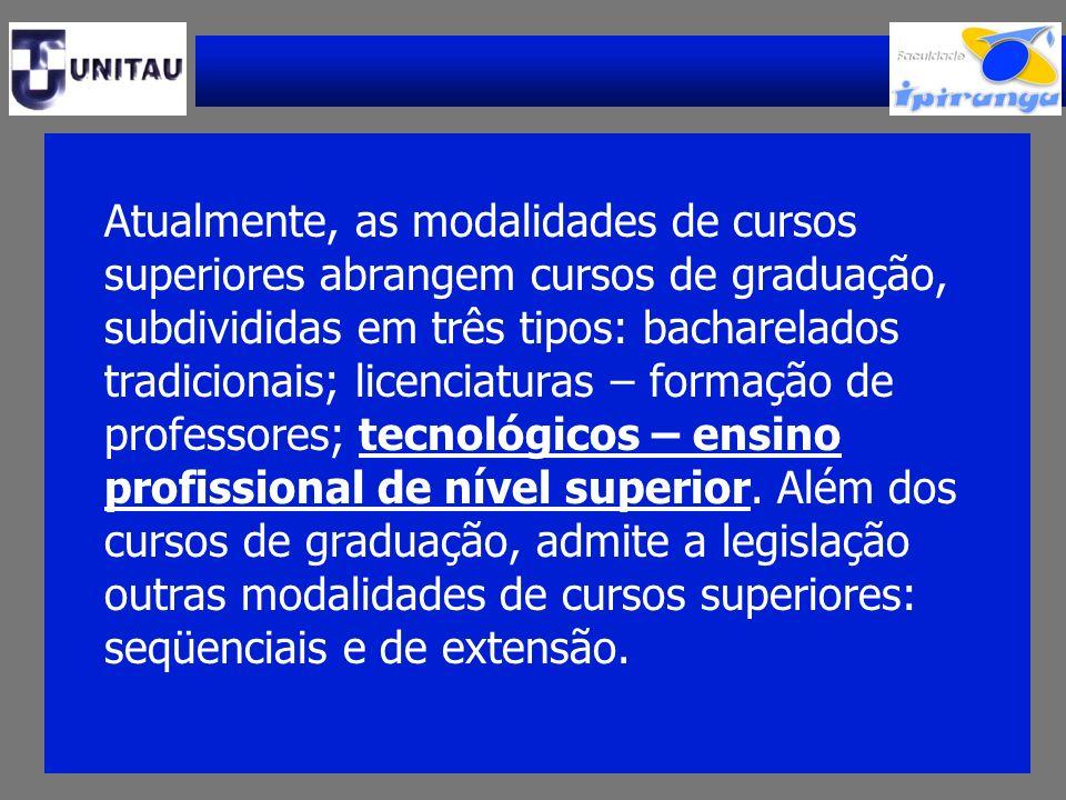 Atualmente, as modalidades de cursos superiores abrangem cursos de graduação, subdivididas em três tipos: bacharelados tradicionais; licenciaturas – f