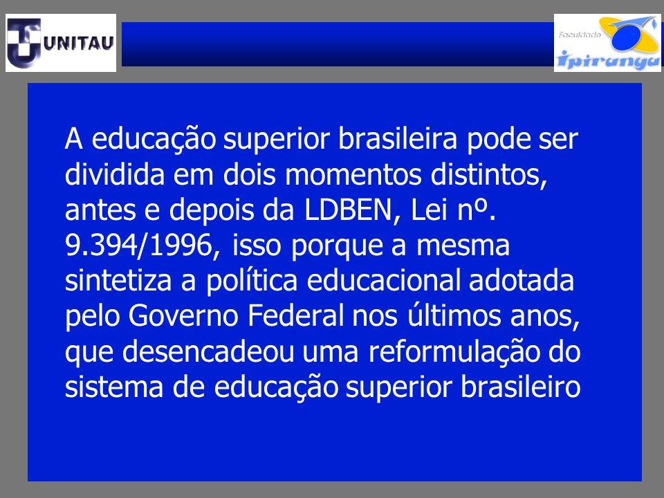 A educação superior brasileira pode ser dividida em dois momentos distintos, antes e depois da LDBEN, Lei nº. 9.394/1996, isso porque a mesma sintetiz