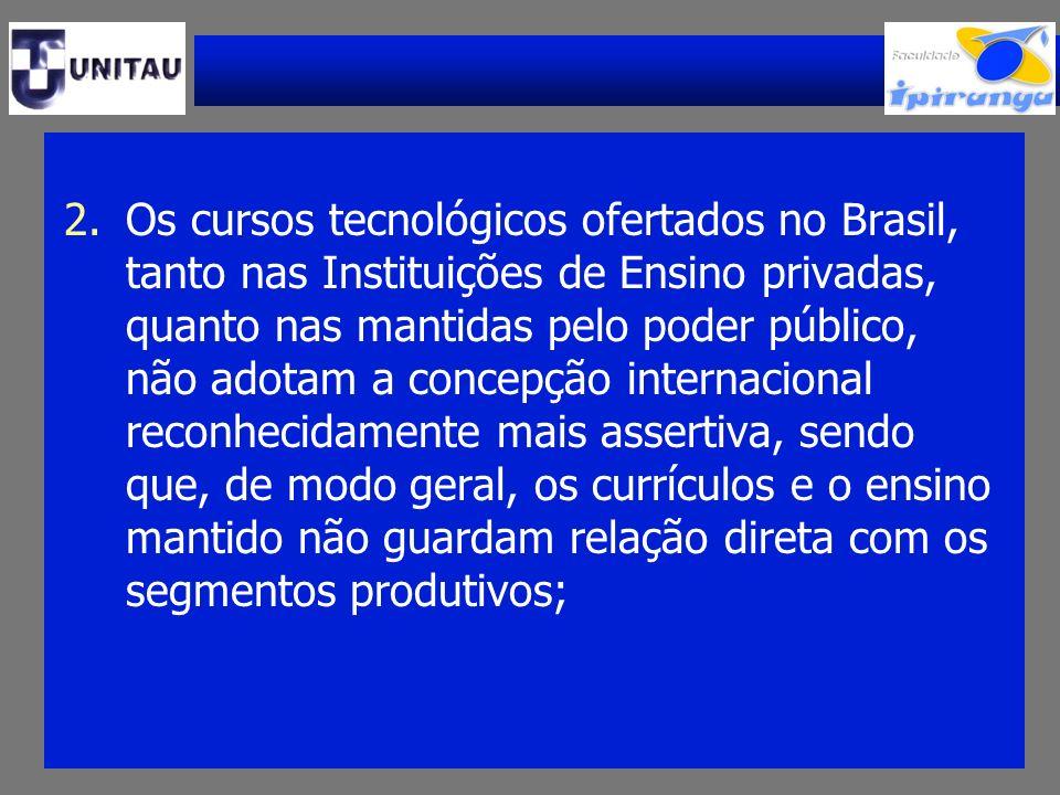 2.Os cursos tecnológicos ofertados no Brasil, tanto nas Instituições de Ensino privadas, quanto nas mantidas pelo poder público, não adotam a concepçã