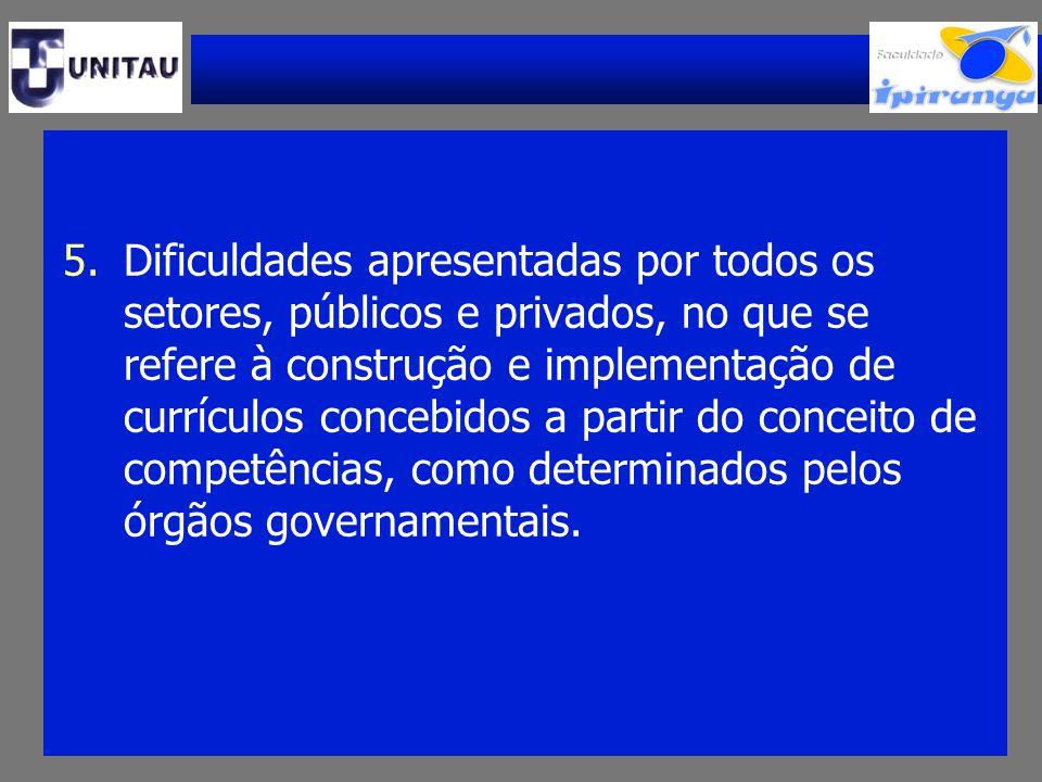 5.Dificuldades apresentadas por todos os setores, públicos e privados, no que se refere à construção e implementação de currículos concebidos a partir