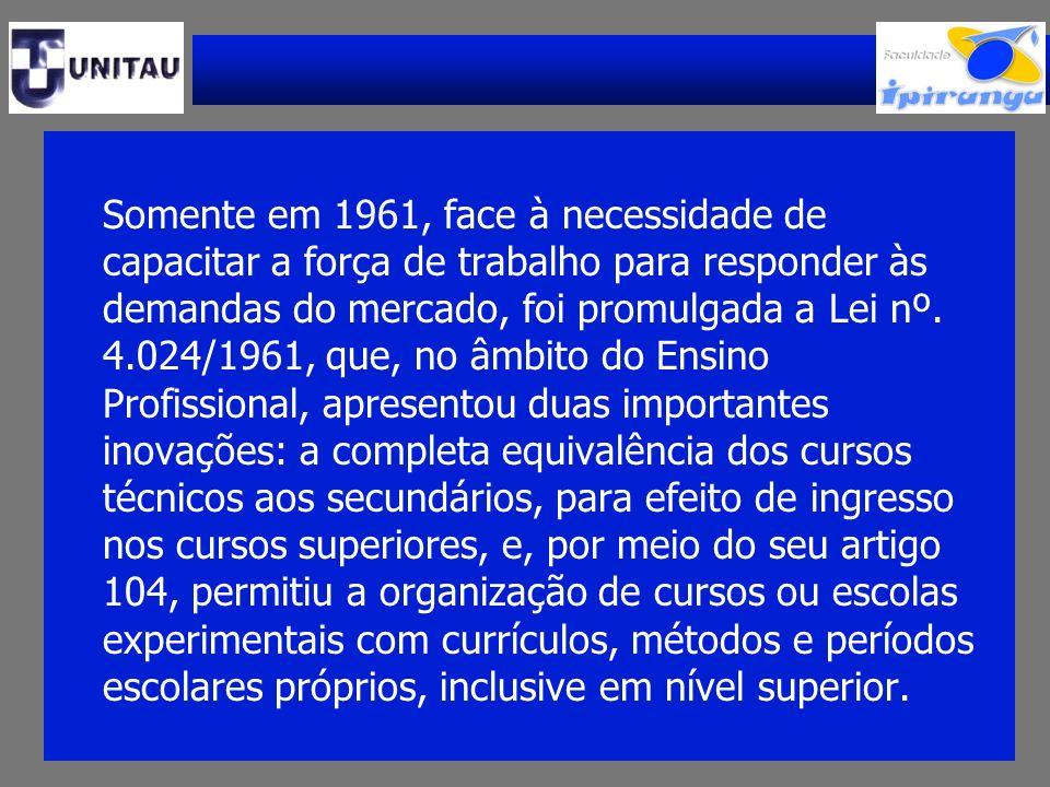 Somente em 1961, face à necessidade de capacitar a força de trabalho para responder às demandas do mercado, foi promulgada a Lei nº. 4.024/1961, que,