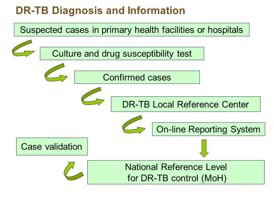 DR-TB Diagnosis and Information Suspected cases in primary health facilities or hospitals Culture and drug susceptibility test Confirmed cases National Reference Level for DR-TB control (MoH) DR-TB Local Reference Center On-line Reporting System Case validation