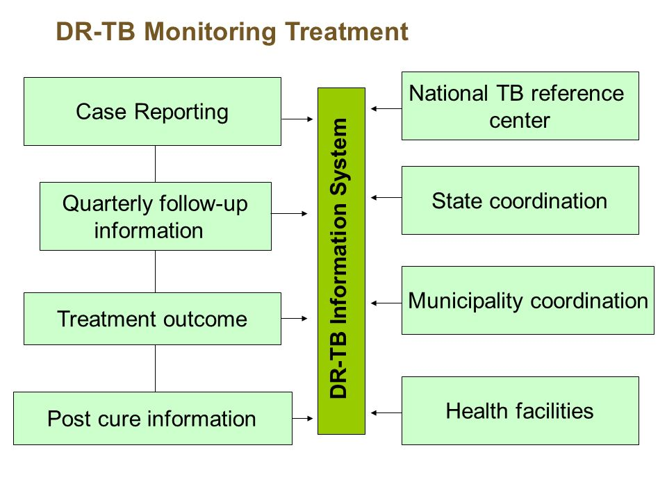 DR-TB Monitoring Treatment Case Reporting Treatment outcome Post cure information Quarterly follow-up information DR-TB Information System National TB reference center State coordination Municipality coordination Health facilities